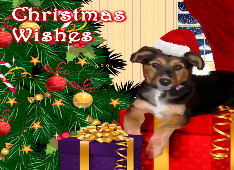 Lizzy'sCardsLTD Christmas pooch 1 (commissioned work)  personalised online greeting card