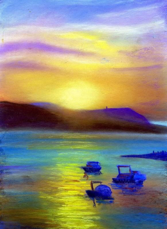 Artcards by Matthew Evans Sunset Boats  personalised online greeting card