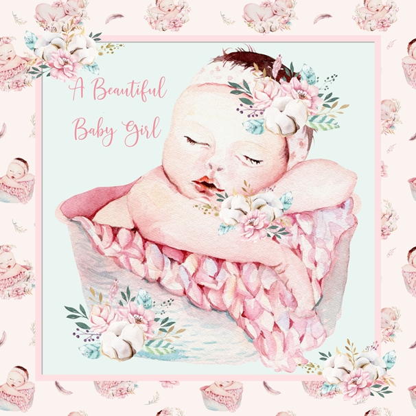 Snappy Designz A Beautiful Baby Girl Card  personalised online greeting card