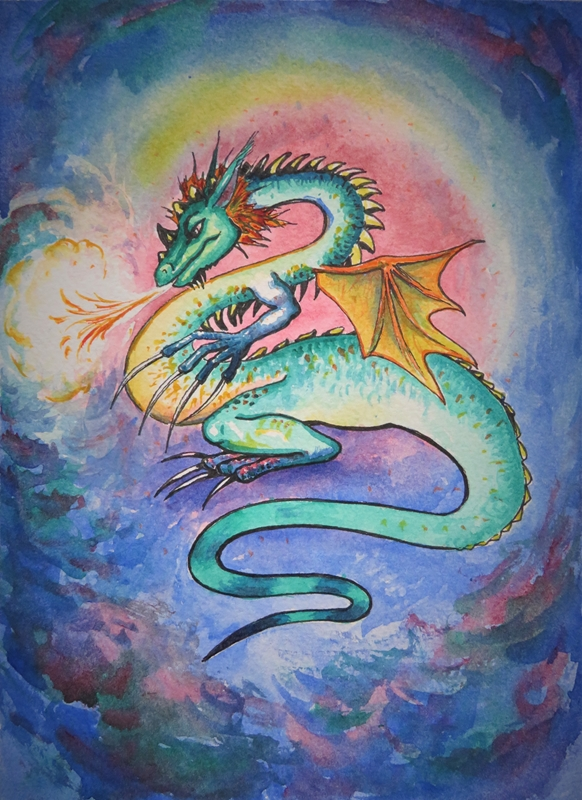 Little Liz Happy Art Fire dragon  personalised online greeting card