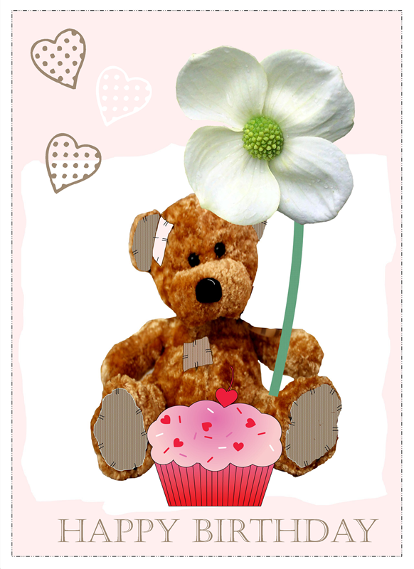 Quirkytags... CUP CAKE BEAR  personalised online greeting card