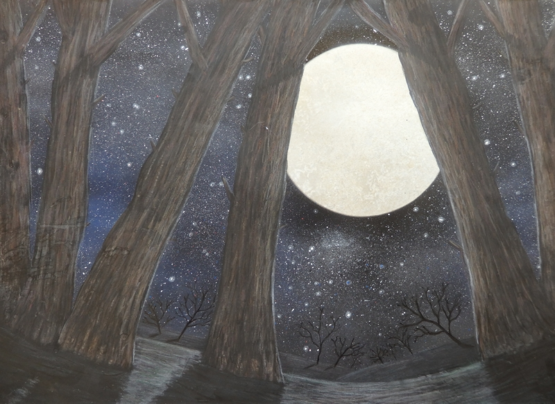 Ruth Searle Art & Photography Trees in the moonlight  personalised online greeting card