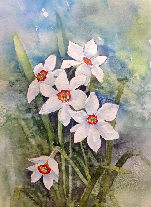 Art by Sheila O'Brien Narcissi  personalised online greeting card