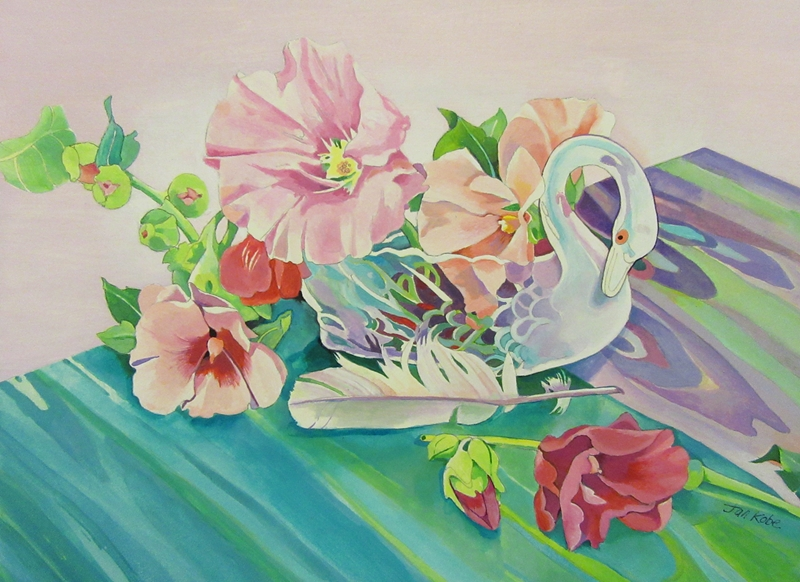 Jan's Wee Wisdom Illustrations Swan and Hollyhock Still-life  personalised online greeting card