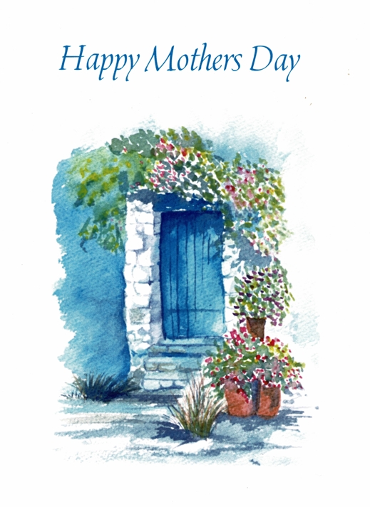 SJB Cards Cottage with Blue Door   personalised online greeting card