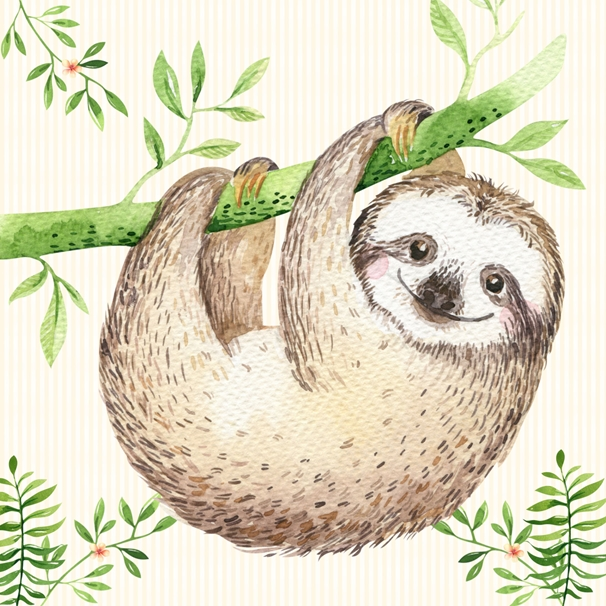 Snappy Designz Sloth Notelet Card  personalised online greeting card