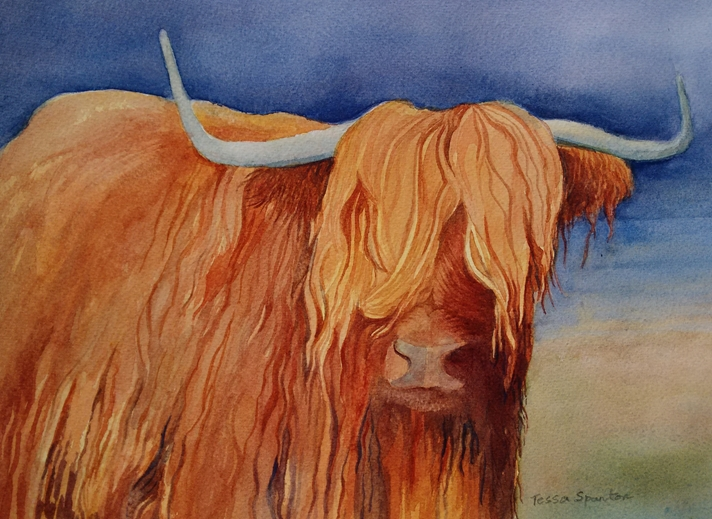 Tessa Spanton Artist Highland Cow  personalised online greeting card