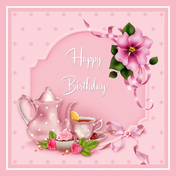 Snappy Designz Pink Birthday Tea Card  personalised online greeting card