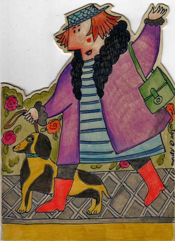 ROSA MARIA CARDS THE LADY AND THE DOG WALKING  personalised online greeting card