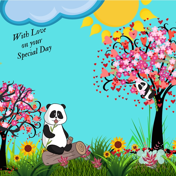 Her Nibs  Panda Love   personalised online greeting card