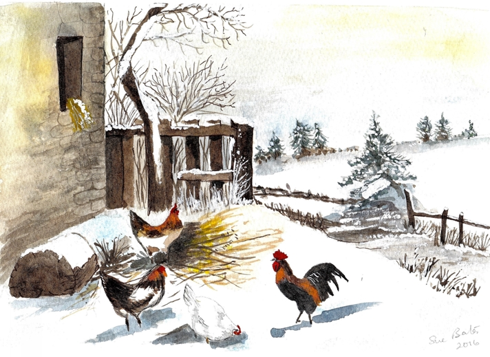 SJB Cards Chickens in the Snow  personalised online greeting card