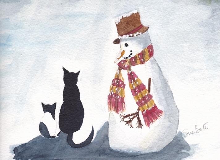SJB Cards Snowman and Cats  personalised online greeting card