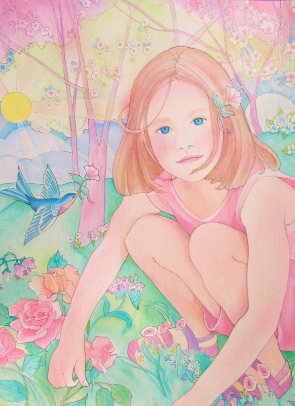 "Jan's Wee Wisdom Illustrations ""Spring Time Child""  personalised online greeting card"