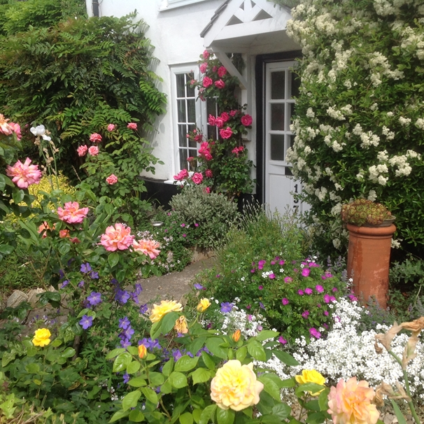 Art by Sheila O'Brien Cottage garden  personalised online greeting card