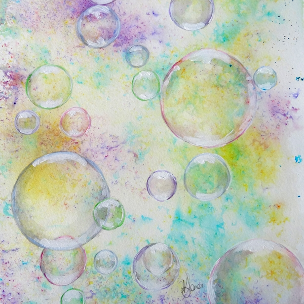 Karen J Jones Delicate Bubbles  personalised online greeting card