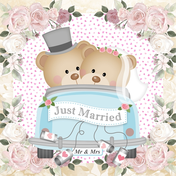 Millymoo Just Married Wedding Day Card  personalised online greeting card