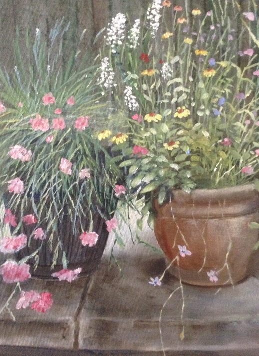 Wildart Pinks and pots  personalised online greeting card