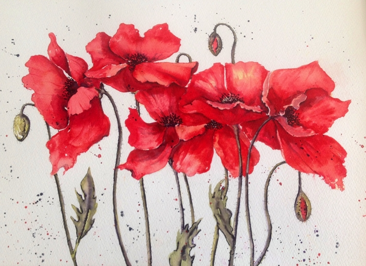 Art by Sheila O'Brien Poppies  personalised online greeting card