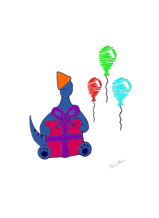 SDunlevey Artwork Balloon and Presents  personalised online greeting card