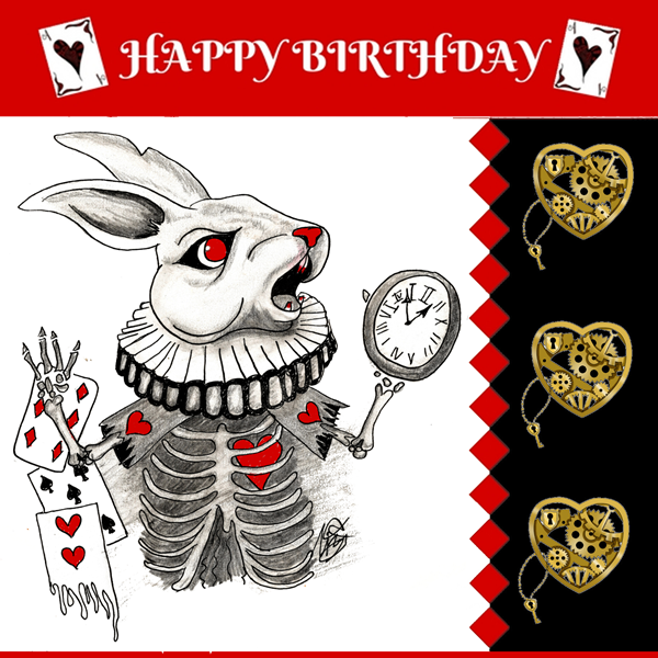 Lizzy'sCardsLTD Alice Madness Birthday Card 2 - White Rabbit  personalised online greeting card