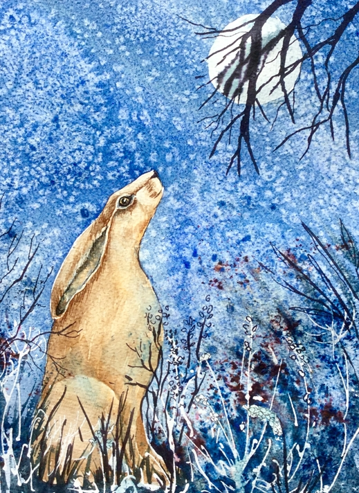 Art by Sheila O'Brien Hare and Moon  personalised online greeting card