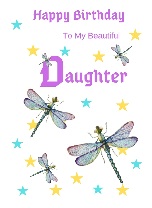 Her Nibs  Dragonflies and stars   personalised online greeting card