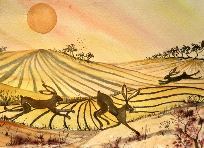Art by Sheila O'Brien Hares at play  personalised online greeting card