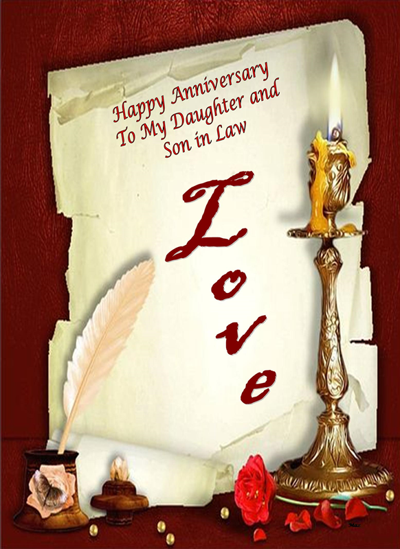 Her Nibs  Happy Anniversary Daughter and Son in Law  personalised online greeting card