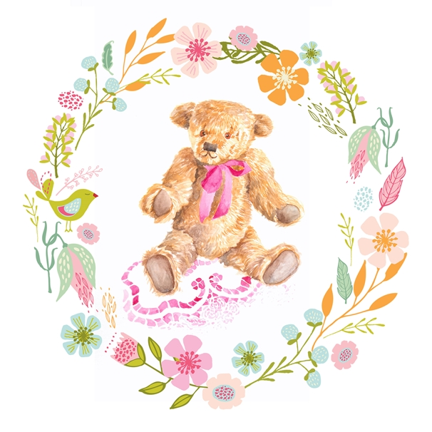 Libby and Millie Pink Teddy  personalised online greeting card