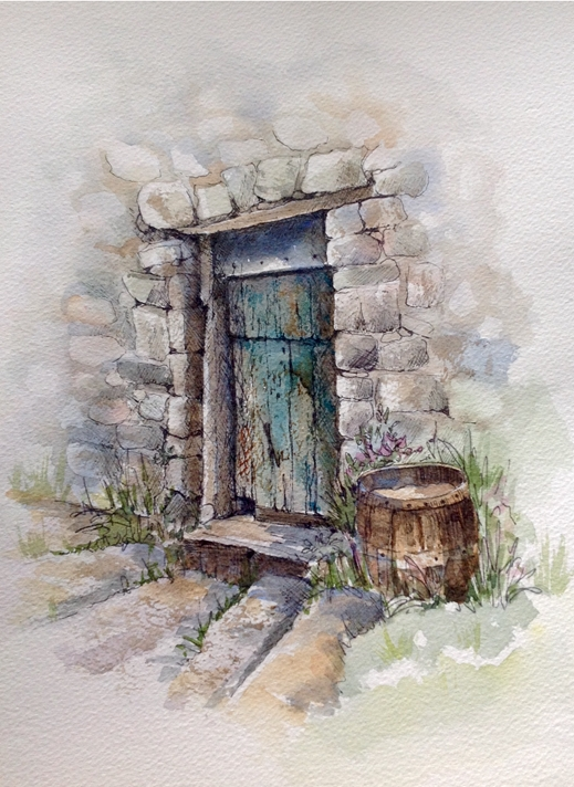 Art by Sheila O'Brien The old door  personalised online greeting card