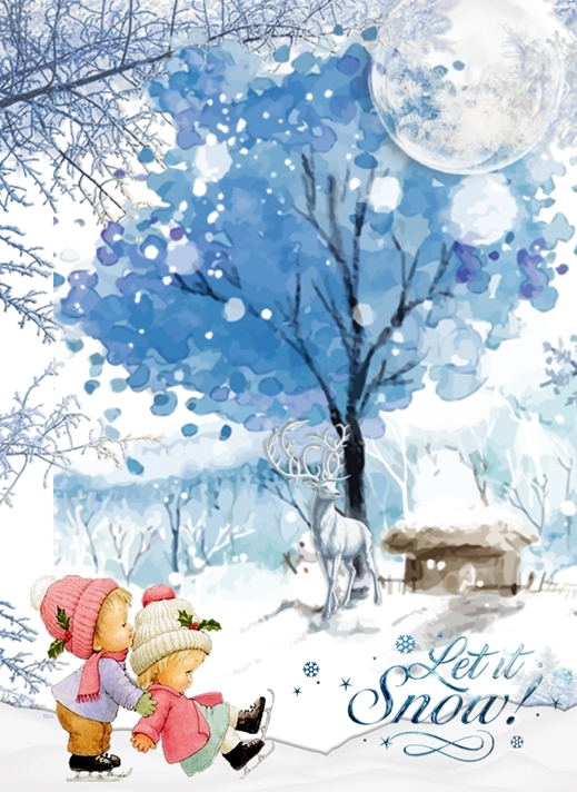 Her Nibs  Children Playing in Snow   personalised online greeting card