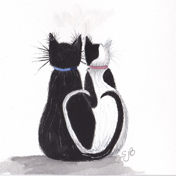 SJB Cards Black and White Cats  personalised online greeting card