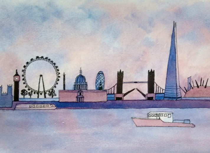 Tessa Spanton Artist London Skyline  personalised online greeting card