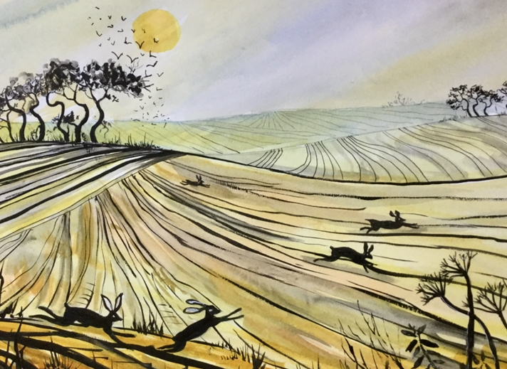 Art by Sheila O'Brien Hares and trees  personalised online greeting card