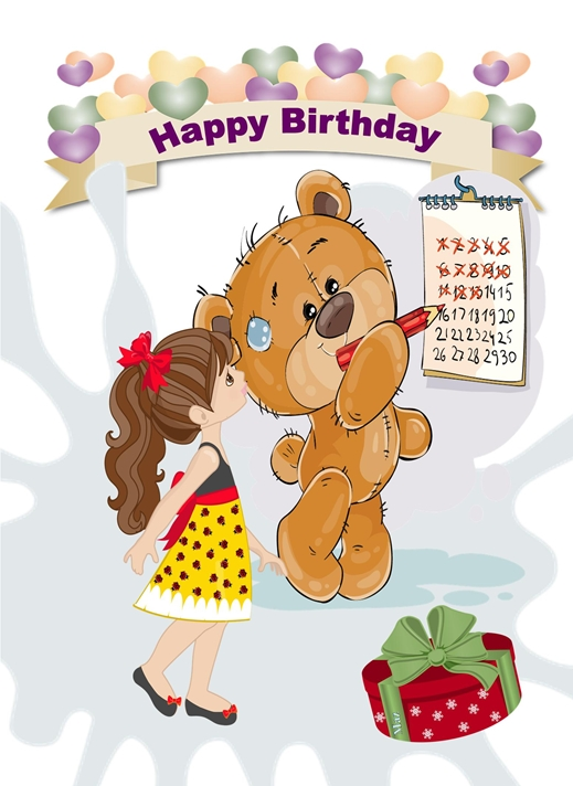 Her Nibs  Birthday Bear with Girl  personalised online greeting card