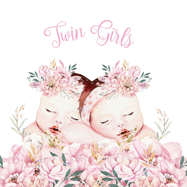 Snappy Designz Twin Girls - New Baby Card  personalised online greeting card