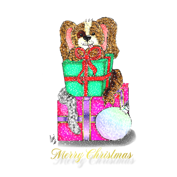 Lizzy'sCardsLTD Puppy Christmas 1  personalised online greeting card