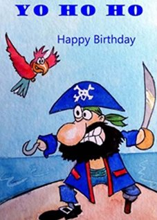 Birthday Children artwork pirate sea  parrot for-children  funny  personalised online greeting card