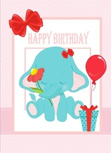 birthday Elephant Balloon Gift Flower Pink Red Blue Happy  personalised online greeting card