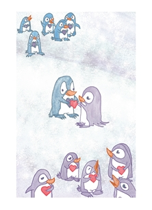 Valentine Penguins, Hearts, Valentine, Holidays, Christmas, Polar, Snow, Birds, Arctic  personalised online greeting card