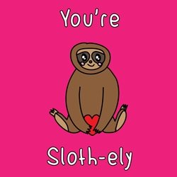 General Children Valentine's Day Wedding Anniversary him her Sloth lovely jungle lazy kawaii animal zoo bright colours cute personalised online greeting card