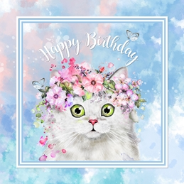 Snappyscrappy Birthday Card Birthday Cat, Persian, for-him, for-her, floral, blue, white personalised online greeting card