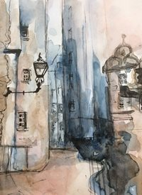 art Watercolour street scene, z%a personalised online greeting card