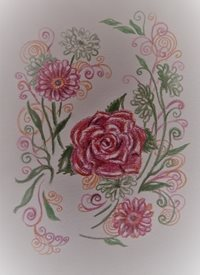 Art flowers, pink, red, orange, swirls,   personalised online greeting card