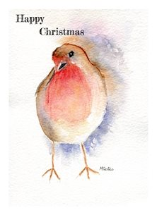 christmas robin, bird, birds personalised online greeting card