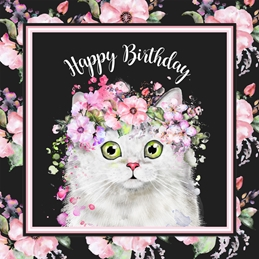 Birthday Cat, White Cat, for-her, black, pink, floral, female personalised online greeting card