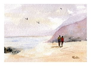 art beach,watercolour personalised online greeting card