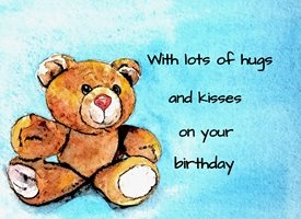 Birthday teddy bear  toy animal blue orange dad son  granddad friend uncle mum daughter Nan aunt  personalised online greeting card