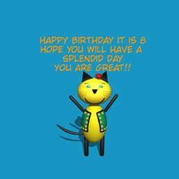 Birthday ^cat^,^blue^,^fun^,^eight^ personalised online greeting card