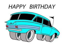 Birthday blue cars limo personalised online greeting card